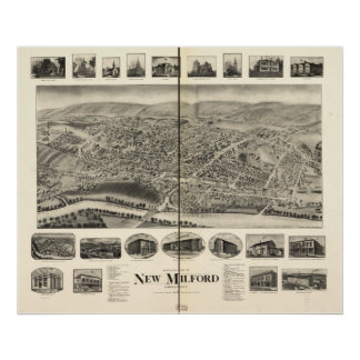 Nuevos mapa panorámico de Milford Connecticut 1906 Póster