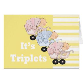 Nuevos muchacho y chicas del trío del bebé tarjeta de felicitación