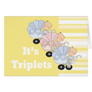Nuevos muchachos y chica del trío del bebé tarjeta de felicitación