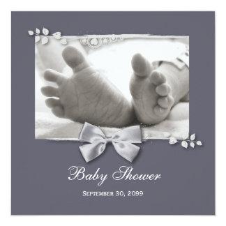 """Nuevos pies del bebé de la fiesta de bienvenida al invitación 5.25"""" x 5.25"""""""