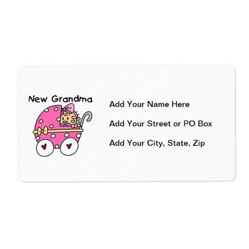 Nuevos regalos de la abuela de la niña etiquetas de envío