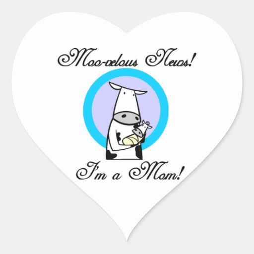 Nuevos regalos de la mamá MOO-velous Colcomanias Corazon Personalizadas