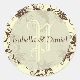Nuevos sellos del sobre del monograma del boda pegatina redonda