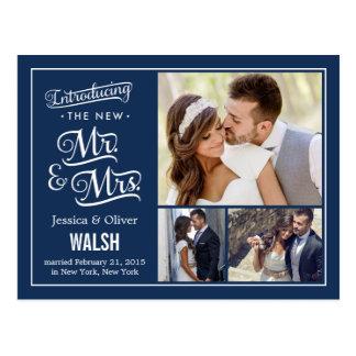 Nuevos Sr. y señora Wedding Announcement - azul ma Postales
