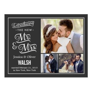 Nuevos Sr. y señora Wedding Announcement - carbón  Postal