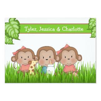"""Nuevos tríos del bebé dos chicas y mono lindo del invitación 5"""" x 7"""""""