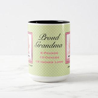 Nuevos verde y rosa del bebé de la abuela taza de dos tonos