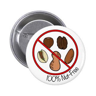 Nuez 100% libre (nueces y cacahuetes del árbol) pin redondo 5 cm
