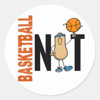 Nuez 1 del baloncesto etiqueta redonda