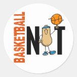 Nuez 1 del baloncesto pegatina redonda
