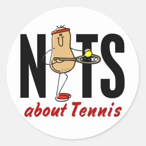 Nuez 2 del tenis pegatina redonda