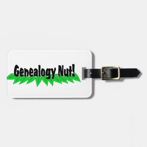 Nuez de la genealogía etiquetas maletas
