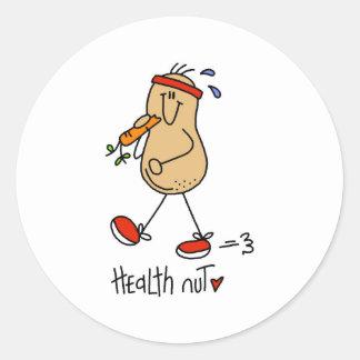 Nuez de la salud pegatinas redondas