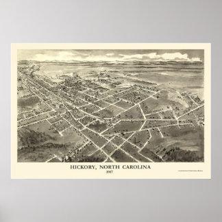 Nuez dura, mapa panorámico del NC - 1907 Póster