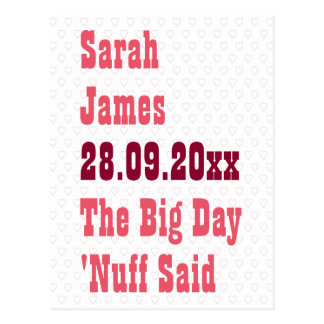 Nuff Said Funny Save the Date Wedding Announcement Postcard