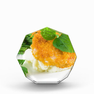 Nuggets of chicken, mashed potatoes and green bean acrylic award