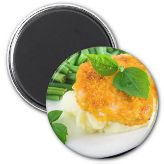 Nuggets of chicken, mashed potatoes and green bean magnet