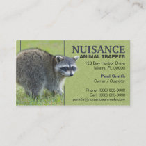 Nuisance Animal Trapper Business Card