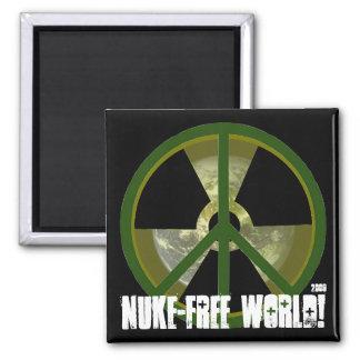 Nuke-Free World! 2 Inch Square Magnet
