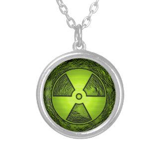 nuke warning round pendant necklace