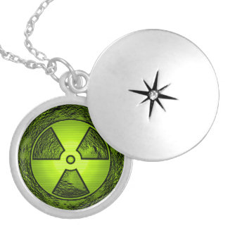 nuke warning round locket necklace