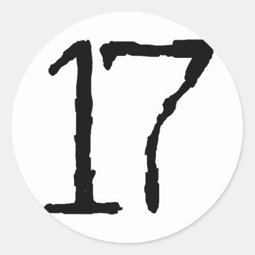 Number17 Pegatina Redonda