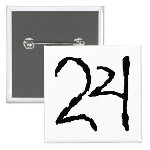 Number24 2 Inch Square Button