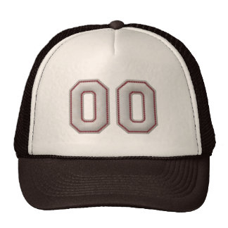 Number 00  with Cool Baseball Stitches Look Trucker Hat
