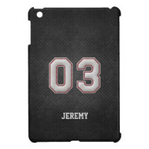 Number 03 Baseball Stitches with Black Metal Look iPad Mini Case