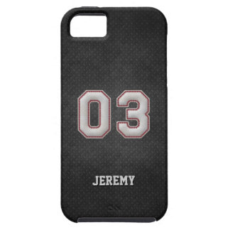 Number 03 Baseball Stitches with Black Metal Look iPhone SE/5/5s Case