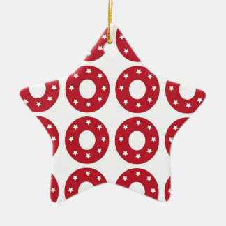 Number 0 - White Stars on Dark Red Ceramic Ornament