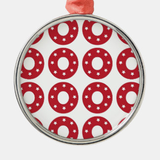 Number 0 - White Stars on Dark Red Metal Ornament