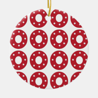 Number 0 - White Stars on Dark Red Ornaments