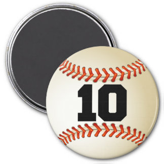 Number 10 Baseball 3 Inch Round Magnet