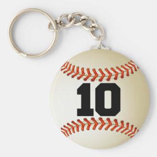 Number 10 Baseball Basic Round Button Keychain