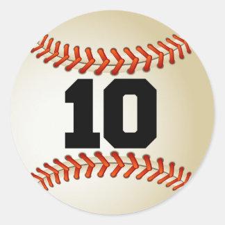 Number 10 Baseball Classic Round Sticker