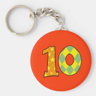 Number 10 basic round button keychain