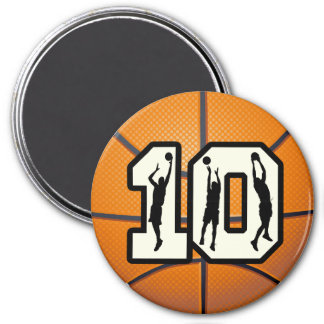 Number 10 Basketball and Players 3 Inch Round Magnet