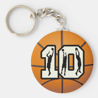 Number 10 Basketball and Players Basic Round Button Keychain