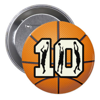 Number 10 Basketball and Players 3 Inch Round Button