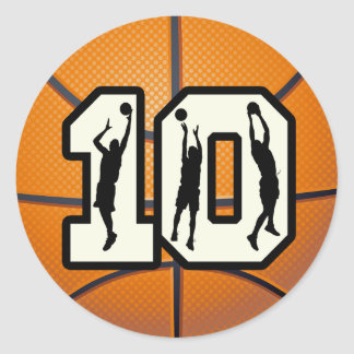 Number 10 Basketball and Players Classic Round Sticker