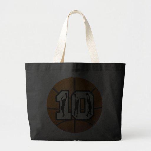 Number 10 Basketball and Players Jumbo Tote Bag