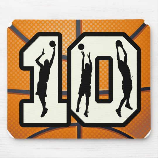 Number 10 Basketball and Players Mouse Pad