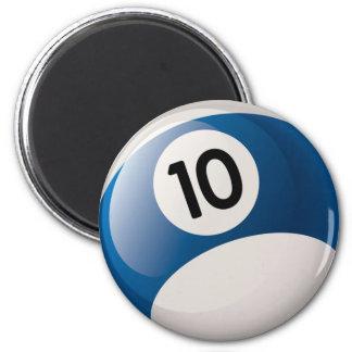 NUMBER 10 BILLIARDS BALL 2 INCH ROUND MAGNET