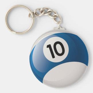 NUMBER 10 BILLIARDS BALL BASIC ROUND BUTTON KEYCHAIN
