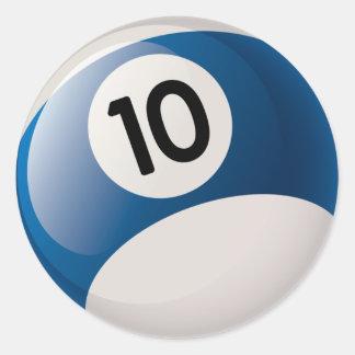 NUMBER 10 BILLIARDS BALL CLASSIC ROUND STICKER