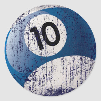 NUMBER 10 BILLIARDS BALL - ERODED STYLE CLASSIC ROUND STICKER