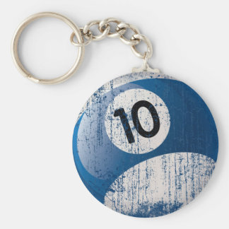 NUMBER 10 BILLIARDS BALL - ERODED STYLE BASIC ROUND BUTTON KEYCHAIN