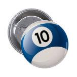 NUMBER 10 BILLIARDS BALL PINBACK BUTTON