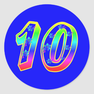 Number 10 Birthday Party Flower Stickers